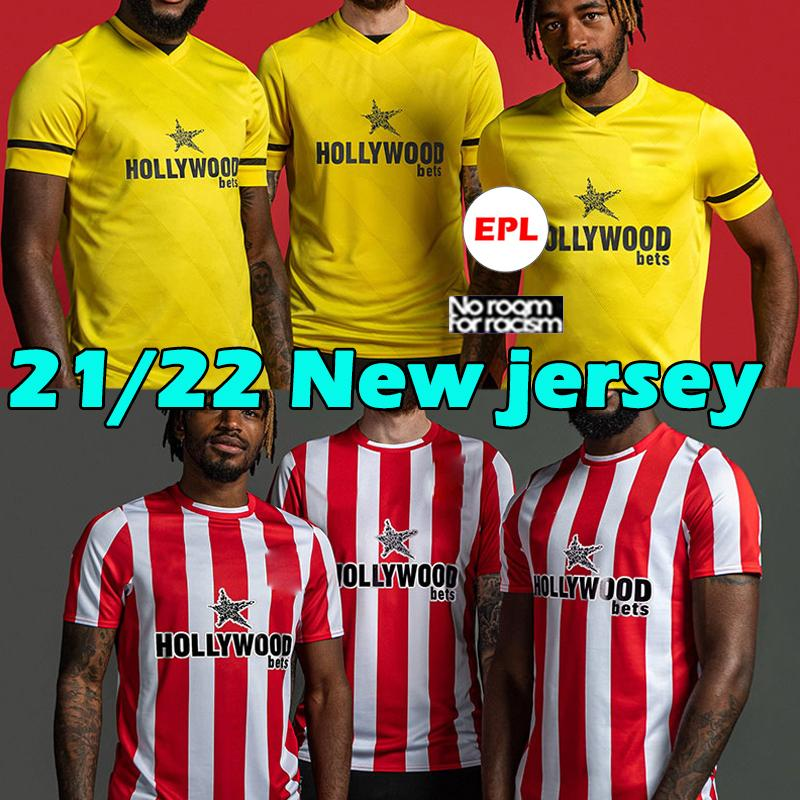 Brentford 2021 2022 Футбол Джерсы Фосу Mbeumo Toney Dasilva Forss Canos Jersey CamiSetas 21/22 Maillot de oep Men Home yellow Yellow футбол