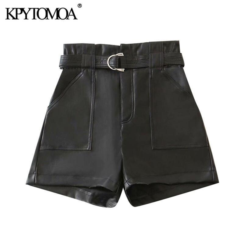 KPYTOMOA Женщины шикарный мода с поясом из искусственных кожаных шортов винтажные высокие талии молния мух карманы женские короткие штаны Mujer 210306