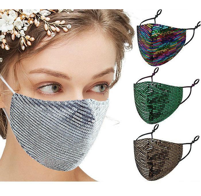 얼굴 마스크 패션 블링 스팽글 Paillette 디자이너 마스크 세탁 가능한 재사용 성인 보호 조정 가능