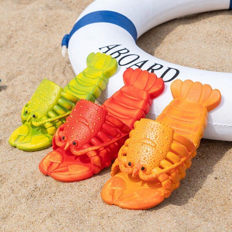 Kadınlar Için Moda Plaj Sandalet Erkekler Düz Yaz Ayakkabı Bayanlar Yumuşak Istakoz Slaytlar 15 cm-28 cm Famliy Terlik Bayan Hayvan Sandalet
