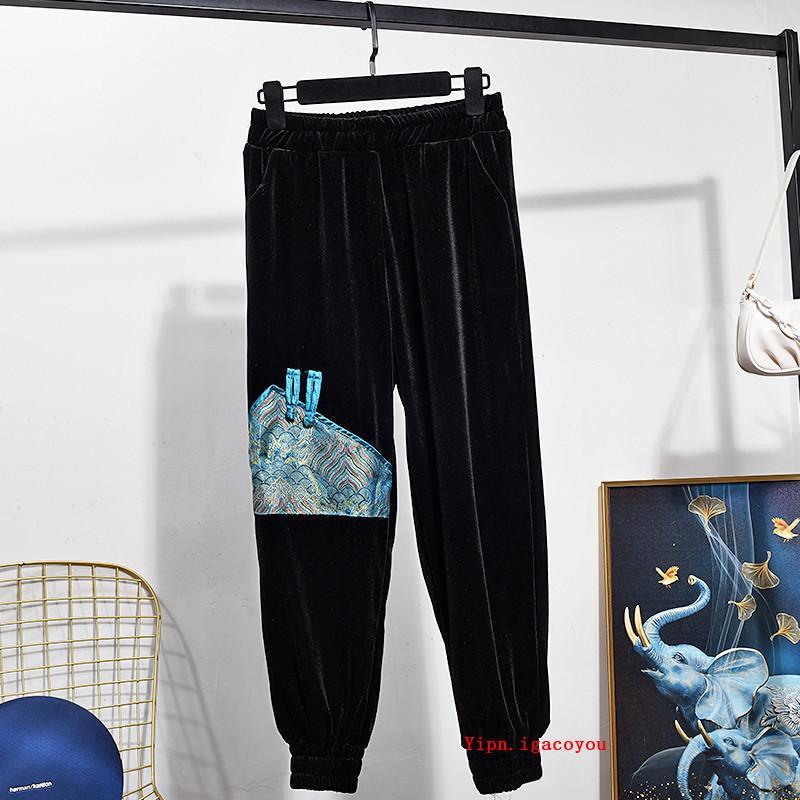 Осенние старинные элегантные женщины золотой бархат кардиган куртка длинные брюки двух частей набор черные короткие пальто брюки 2шт трексуит женский U5xd