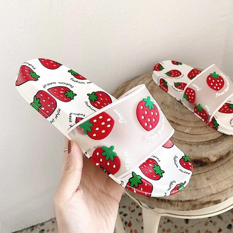 Süße Frauen Sommer Hausschuhe Obstdruck Home Indoor Bad Dusche Folien Dicke weiche Sohle Wohnungen Erdbeere Outdoor Damen Schuhe O24W #