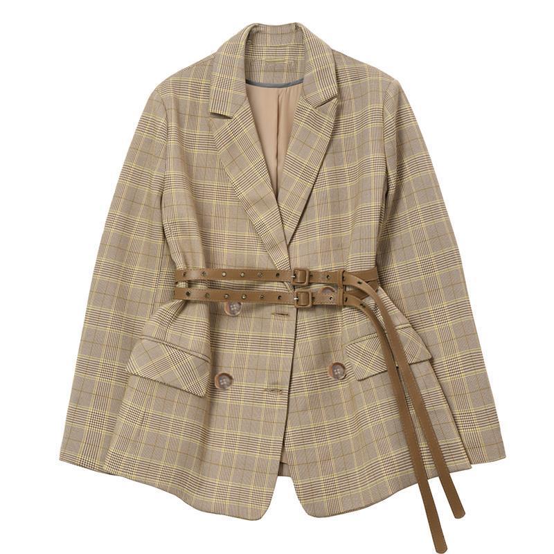 بدلة منقوشة سترة الخريف الفرنسية المتخصصة النمط الغربي الرجعية سليم دعوى مع حزام