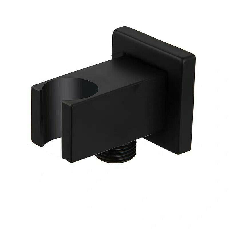 Matte Black Handled Душевая распылительная головка квадратный держатель кронштейн латунный настенный монтажный стойка для ручной душевой головки