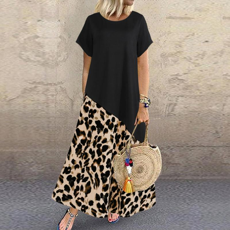 Zanzea 2020 Été Léopard Maxi Robe Mode Femme Sundress imprimé à manches courtes Patchwork Vestidos Plus Taille Casual Robe 5XL J0301