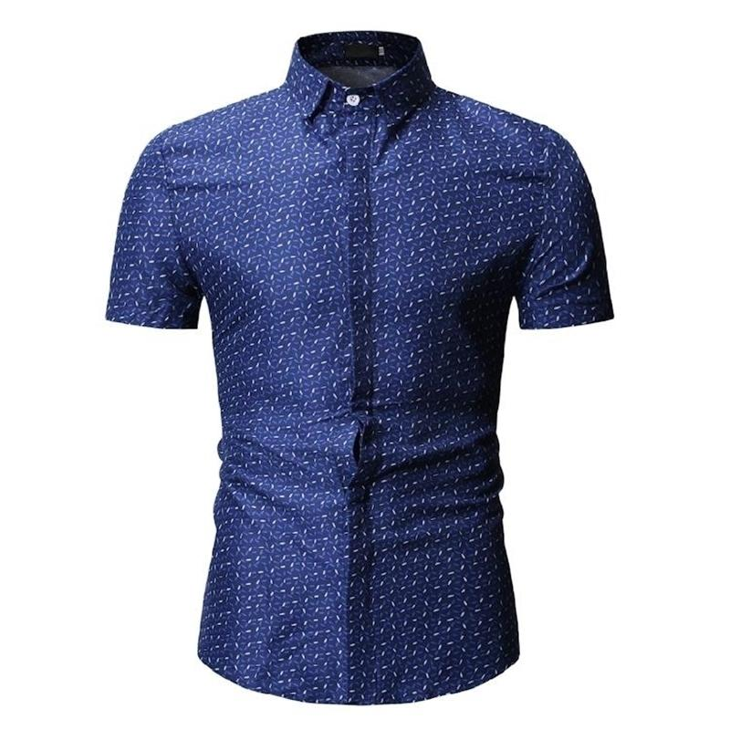 Новые модельные рубашки Camisa Социально-рукав Вечернее платье Мужские Рубашки Летняя Блузка Мужская Одежда Синяя Черный Белый