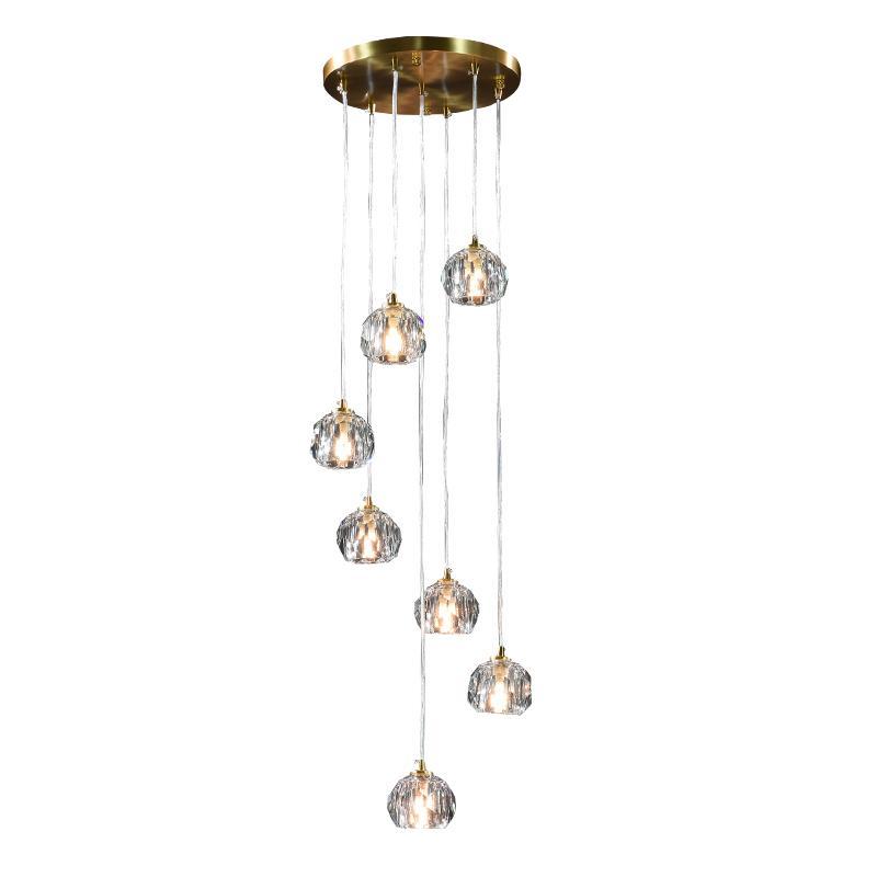 Merdiven Kolye Lamba Modern Minimalist Oturma Odası Nordic Bakır Işık Lüks Villa Dubleks Spiral Merdiven Kristal Kolye Lambaları