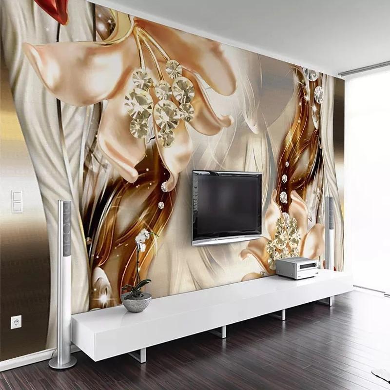 Duvar Kağıtları Özel Boyut Duvar Modern Rüya 3D Kabartmalı Takı Çiçek Duvar Kendinden Yapışkanlı Oturma Odası TV Kanepe Ev Dekorasyonu Boyama