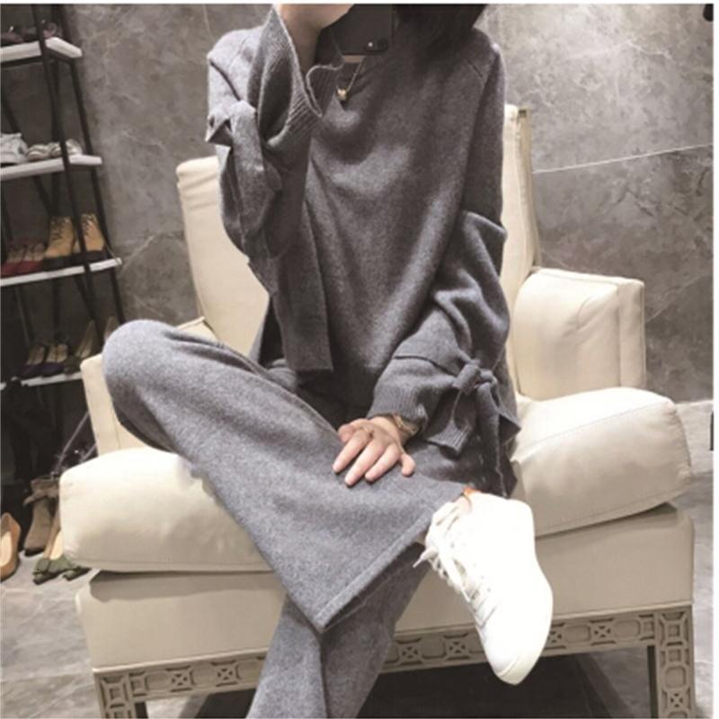 Yüksek Yeni Kış Kaliteli Kaşmir Örme İki Parçalı Set Yay Uzun Kollu Kazak Kazak + Elastik Wiast Eşofman Pantolon Suit 9mr0