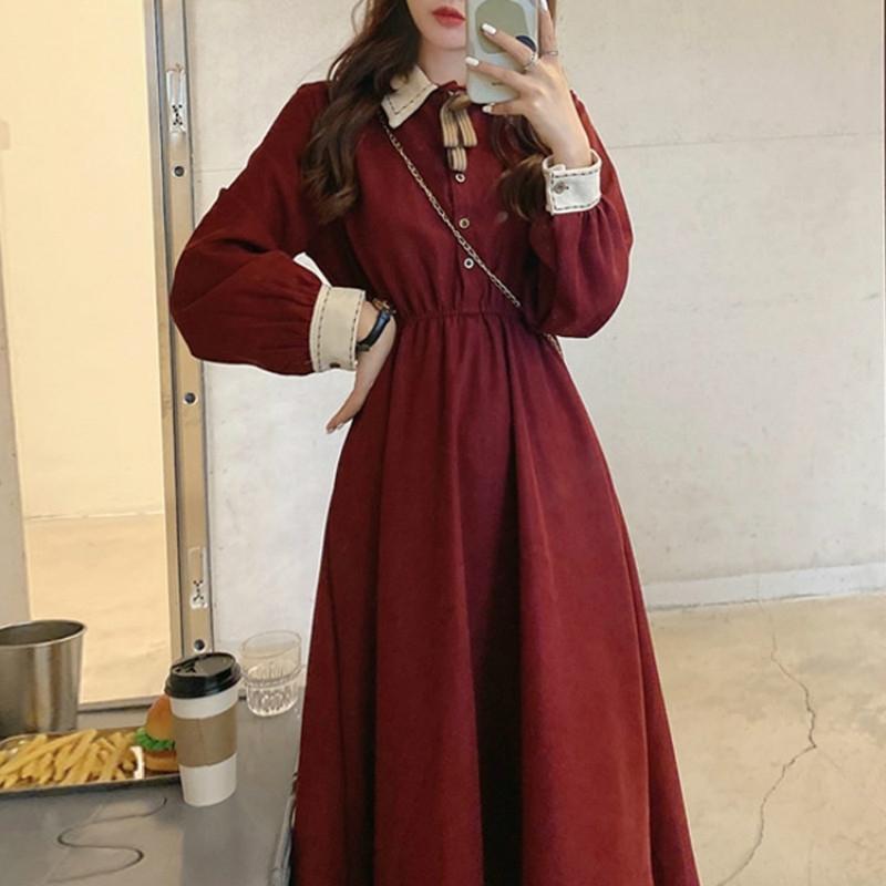 Peri Vintage Elbise Kadın Sonbahar Uzun Kollu Retro Fransız Zarif Elbise Kadın Rahat Parti Tek Parça Elbise Kore Kış 210303