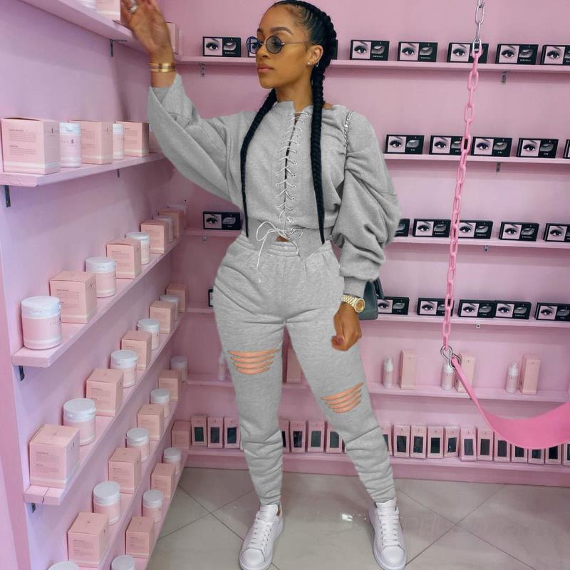 2021 Maglione di colore solido di moda di personalità 4 colori 5 dimensioni bendaggio a due pezzi tuta per womenz6w5