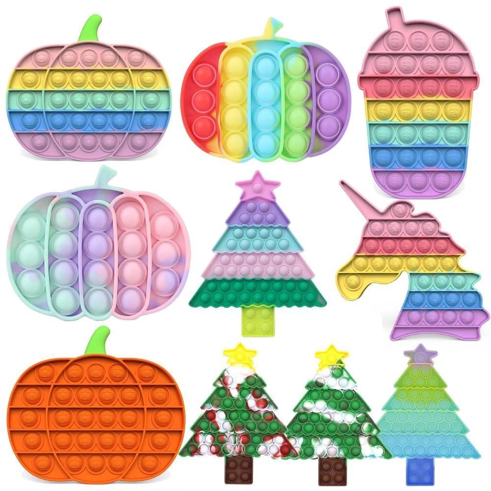 Forma de árvore de Natal Push Up Bubble Kids Fidget Toy Party Favor Adulto Abóbora Antistress Hand Squishy Sensory Toys 2021 Novo