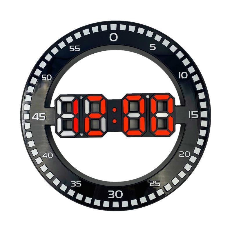LED Digital Wall Orologio da parete rotondo Sveglia elettronica DATA DATA AUTOMATICA TABELLA DESKTOP Desktop Decoration Stand Hang 3D orologi