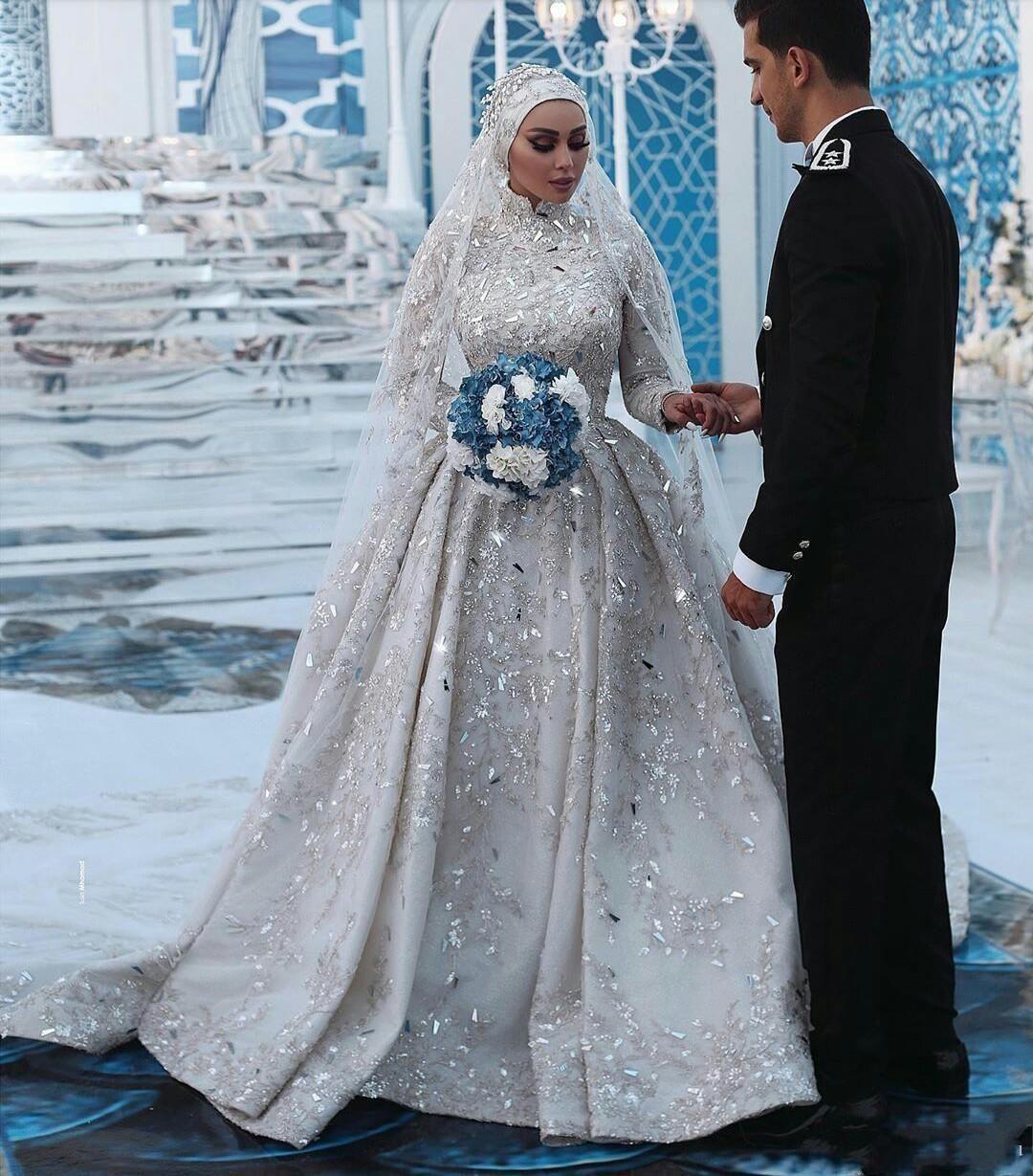 웨딩 드레스 신부 가운 2021 럭셔리 사우디 아랍어 레이스 A 라인 하이 넥 이슬람 스파크 드레스