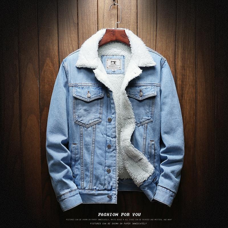 Männer Jacken Männer Hellblaue Winter Jean Oberbekleidung Warme Denim Mäntel Große Größe Wolle Liner dicker
