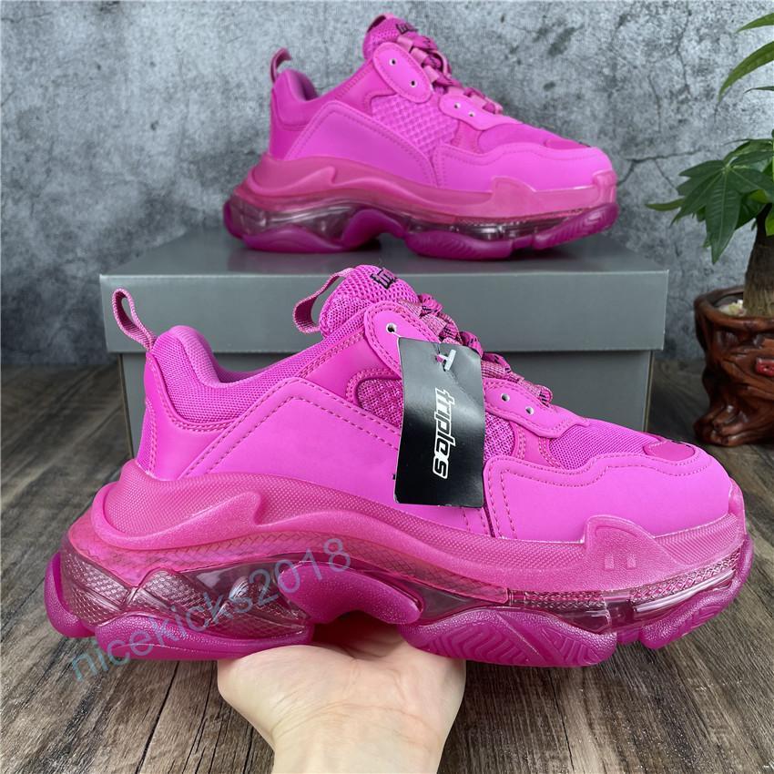 Paris Casual Schuhe Triple S Klare Sohle Trainer Vater Schuh Sneakers Schwarz Weiß Kristall Plattform Männer Frauen Scarpe Superior Qualität Fushia Rosa Chaussures