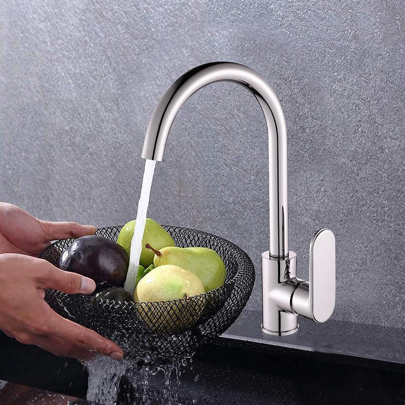 Kitchen Faucet Sink Taps Single Handle 360° Rotatable Wash Basin Mixer Chrome Hot&Cold Water Tap Classic Solid Brass