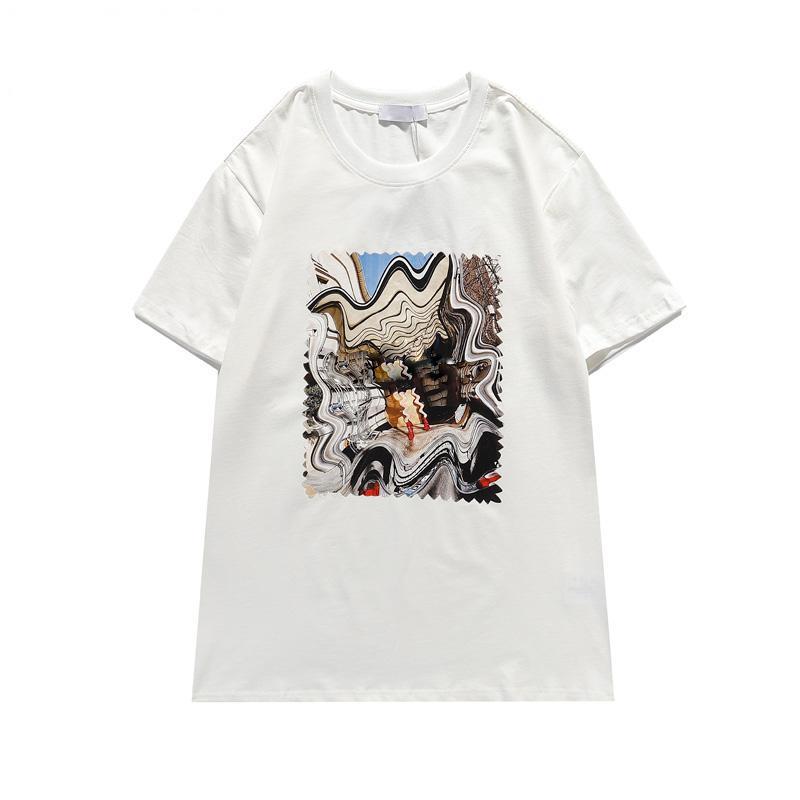 Moda 202 Estate T-shirt da donna maschio di alta qualità Summer T-shirt da donna Hip Hop Hip Hop T-shirt da donna in bianco e nero 1 T-shirt da uomo