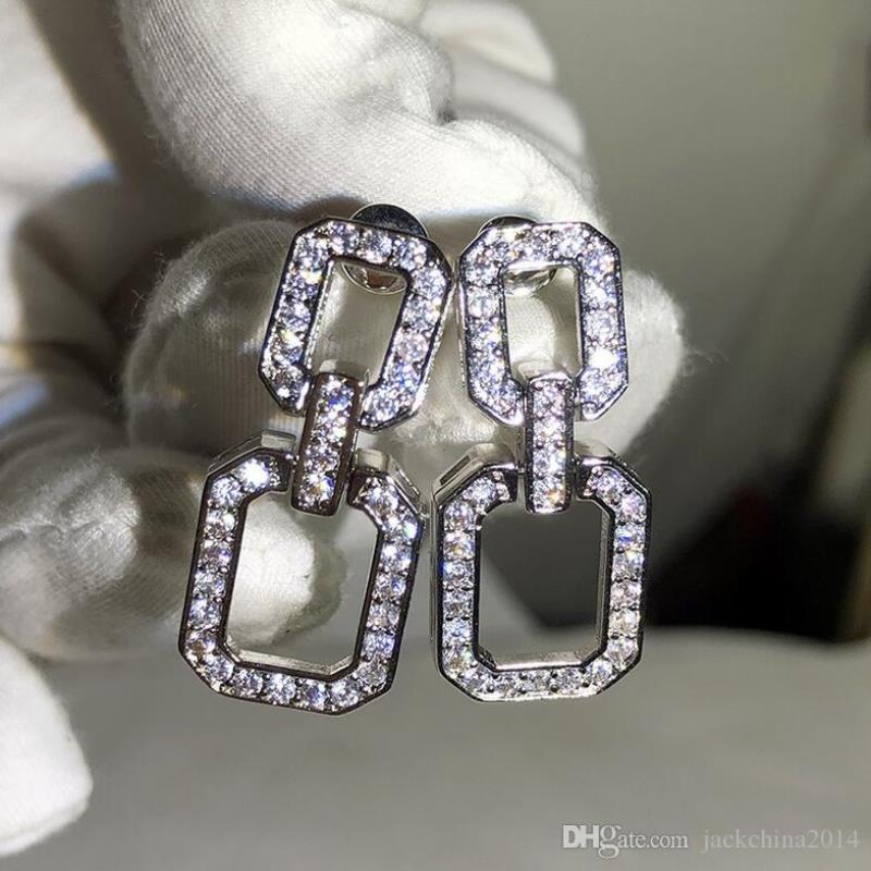 Роскошные женщины серьга подарок скалить звезду Victoria 925 серебристый белый ювелирные изделия длинные прокладки стерлингов сапфир алмазная геометрия супер капля серьги JJHF