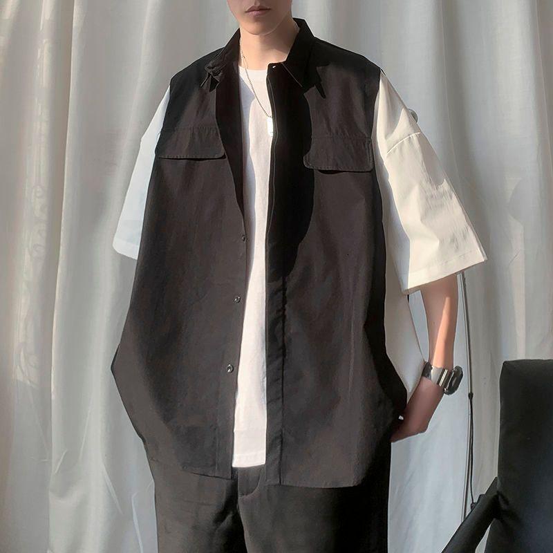 2021 Новые мужские с короткими рукавами Гавайский военный стиль Пальто модная Свободная рубашка Французская манжета Мода Рубашки Camisa Masculina 0LCl