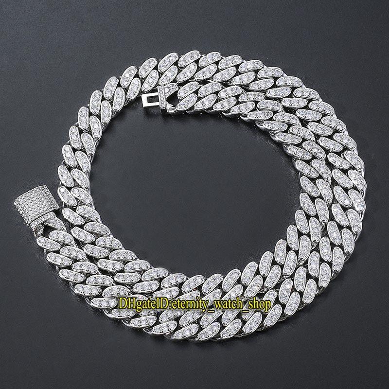 eternity European and American hip hop 13mm CZ Diamonds Cuban necklace men's hip hop necklace single row full diamond Iced Out Cuban Chain