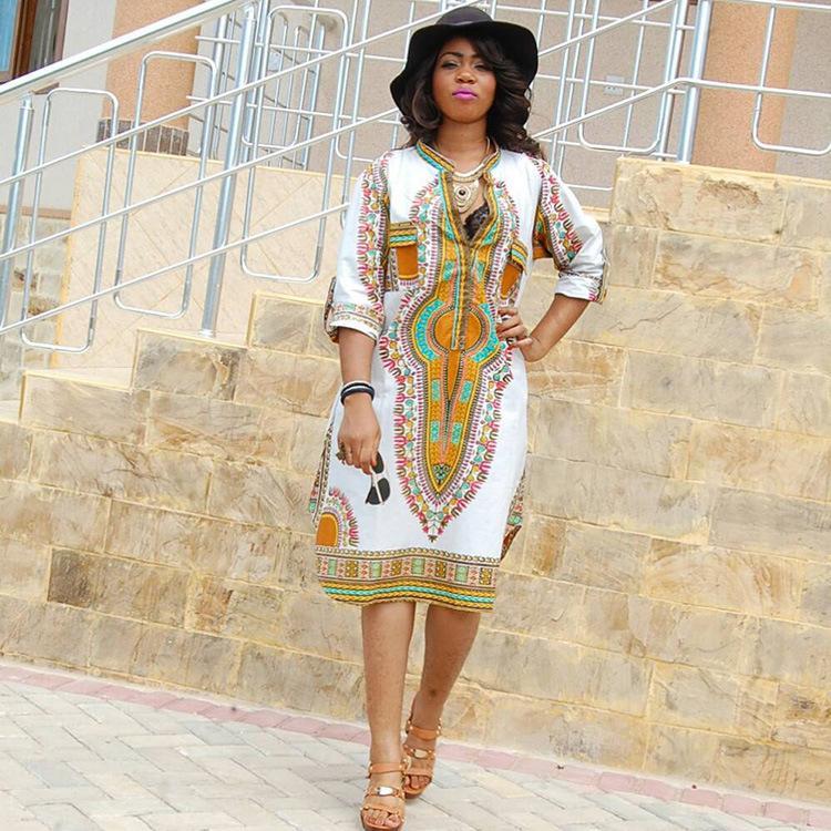 Sleetin Ethnic Style Classique Haute Élastique Slim Slim Col V-Col V-Col Vêtements Pour femmes Jupe à vêtements pour femmes