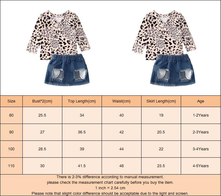 Kleinkind Baby Kind Langarm Leopard T-shirts + Ripped Denim Rock Outfits Sommer Mädchen Kleidung Sets 1-5Y