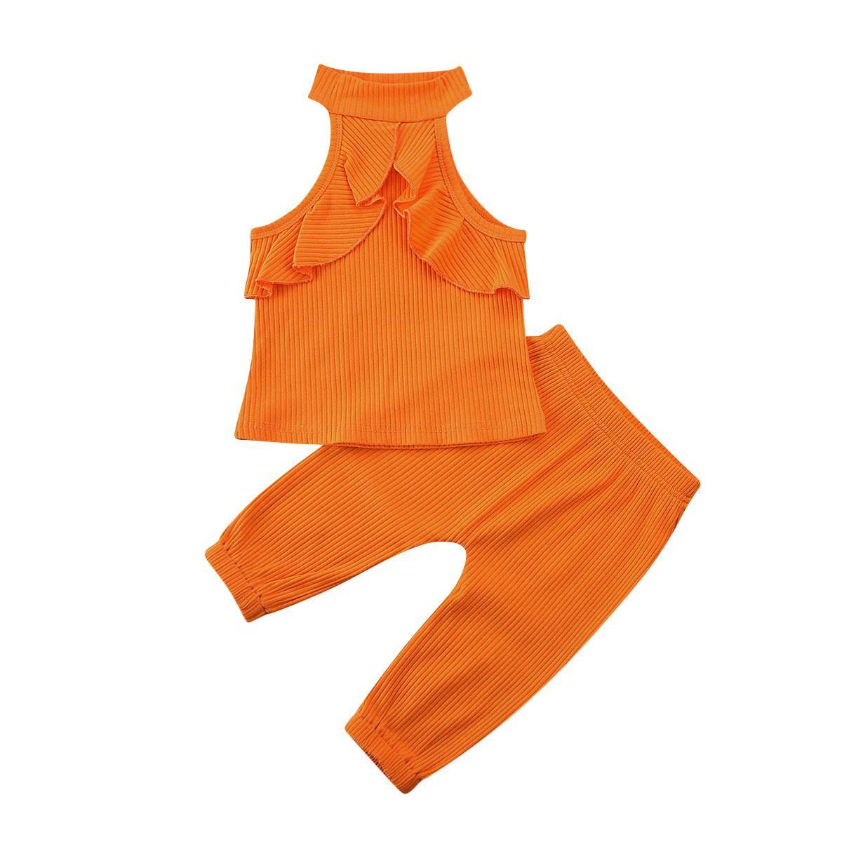 Neue schöne Kleinkind Kid Rüschen Solid ärmellose Tops + lange Hosen Baby Kleidung Sets Outfits 2 stücke Set