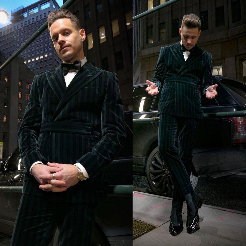 Calças de Veludo Listrado Mens Calças Ternos Do Noivo Melhor Homem Jaqueta Festa de Negócios Prom casamento Blazers TuxeDos Personalizado Duas peças