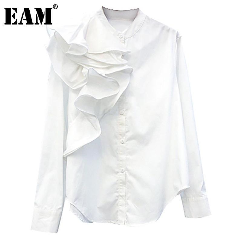 Frauen Blusen Hemden [EAM] Frauen Weiße Unregelmäßige Rüschen Bluse Stehkragen Langarm Lose Fit Hemd Mode Flut Frühling Herbst 2021