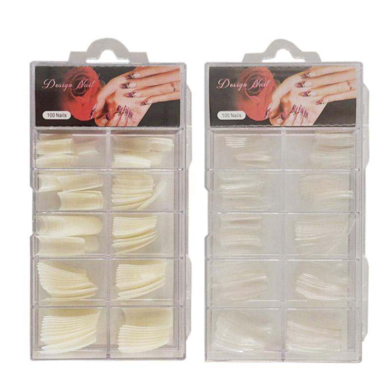 Großhandel natürliche Acryl Nagelspitzen Französisch 100 stücke mit Fall Maniküre Praxis Handschablonen Gefälschte Nagelstudios Falsche Nägel