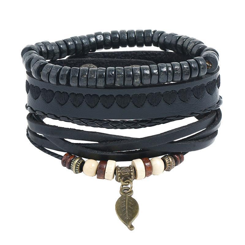 Панк тканый костюм кожаный браслет DIY простой многослойной из бисера кожаный браслет веревка