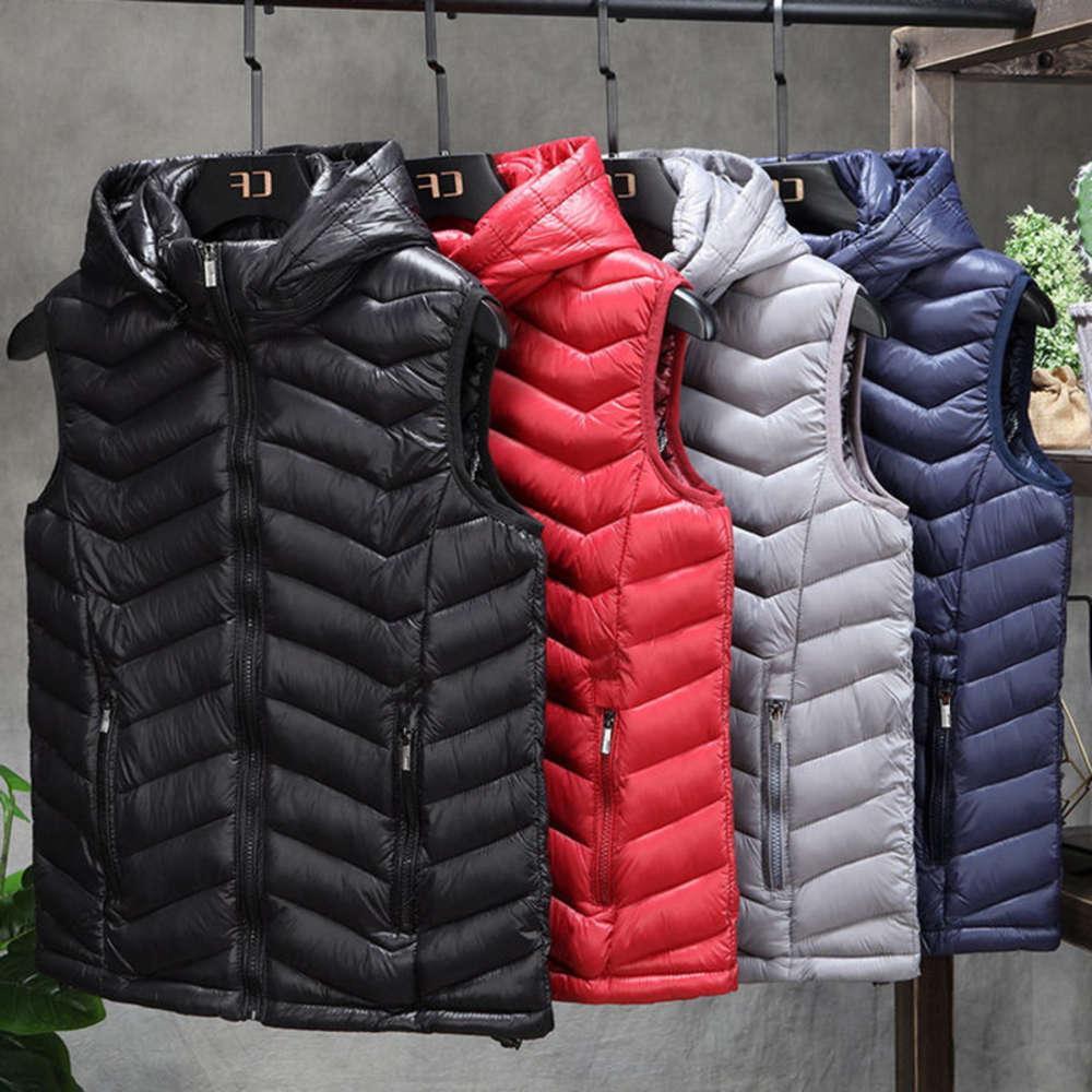 2021 Novo impermeável engrossar homens inverno colete quente chapéu destacável algodão acolchoado de algodão colorido colete de cor plus tamanho 4xl