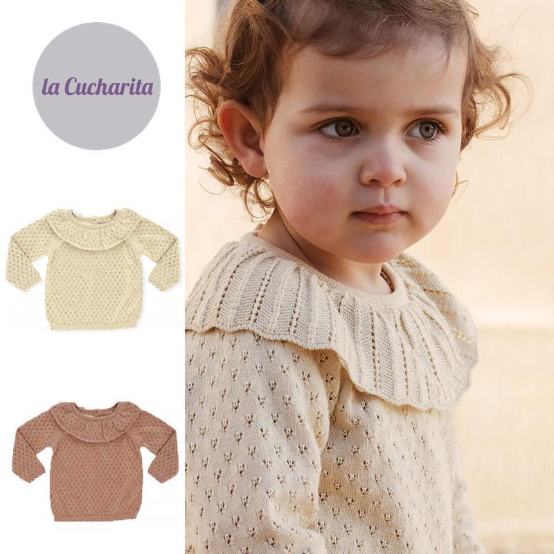 Pullover Spring Autumn Girls Thin Sweater Soor Ploom Brand Long Sleeve Ruff Collar Toddler Kids Brown Solid Color Tops Knitwear