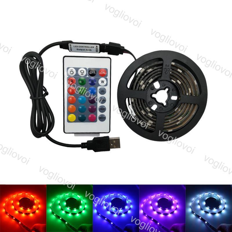 LED-Streifen 5V 5050 RGB USB 24Key IR-Fernbedienung für TV-Hintergrundbeleuchtung Flexible IP65 Wasserdichte Set Eub