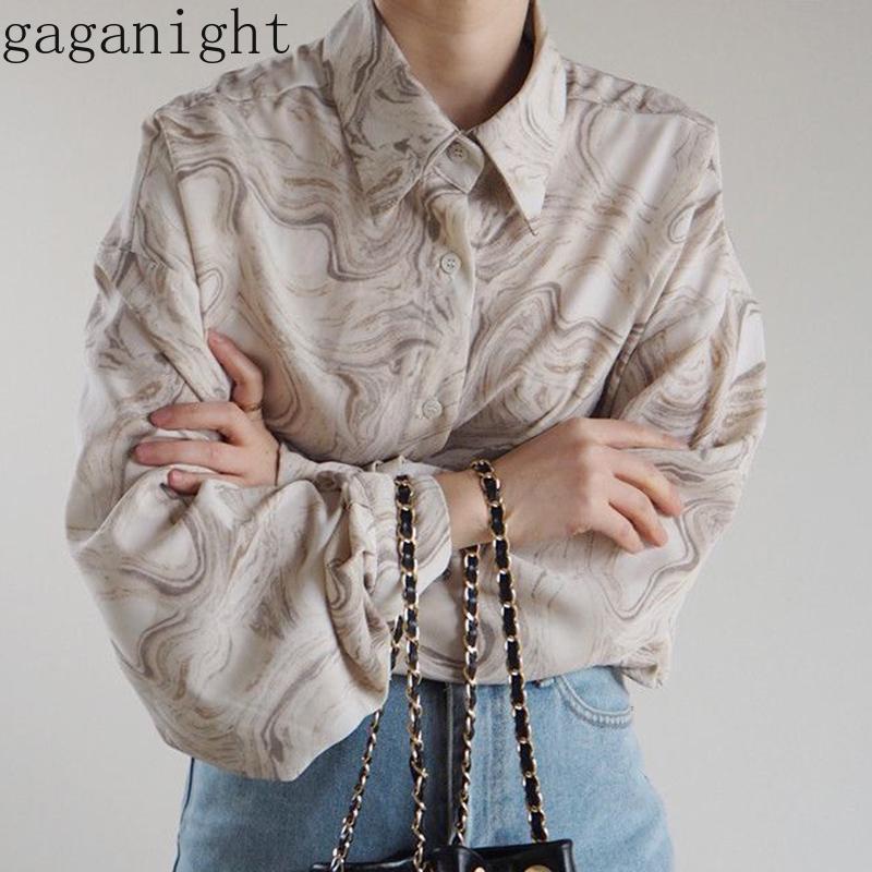 Gaganight Moda Donna Camicetta a maniche lunghe Turn Down Single Breasted Chic Coreano Chic Camicia femminile Blusa Vintage Blusas Spring BlusAS 210302