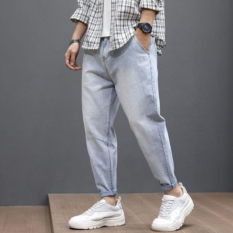2021 Yeni Bahar Yaz Moda Erkekler Kot Gevşek Fit Retro Açık Mavi Geniş Bacak Baggy Pantolon Streetwear Hip Hop Ayak Bileği Uzunluğu Kırpılmış Trouse P0B7