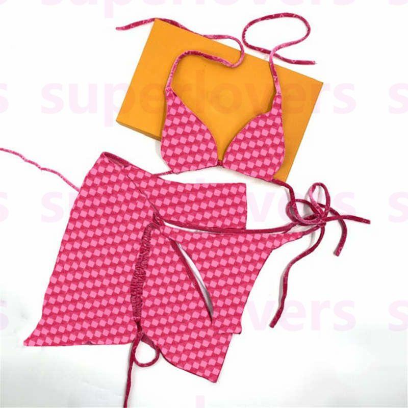 디자이너 자카드 Bikinis 수영복 섹시한 분할 비치 브래지어 브래지어 스커트 부드러운 편안한 수영장 스파 수영복 인사 패션 여성 3pcs 세트 수영복