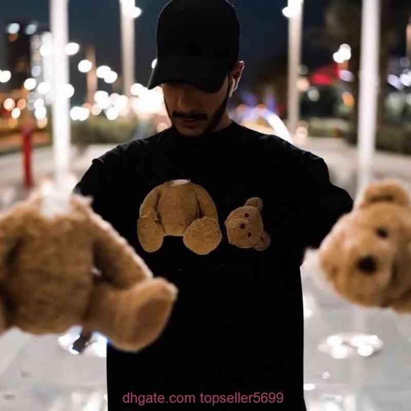 2021SS Yaz Erkekler ve Bayan T Shirt Stilisti Tees Aynı Palm Palms Melekler Baskılı Kısa Kol Kesikli Ayı T-shirt