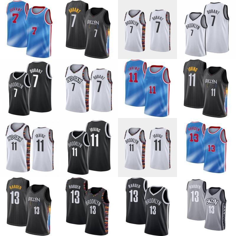 Kevin 7 Durant Basketball Jersey Mens Kyrie 13 Harden New City 11 Irving Blue Blue Black Sin mangas sin mangas