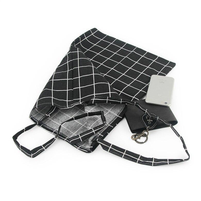 Leinwand-Einkaufstasche Eco-Einkaufstasche Tägliche Verwendung Faltbare Handtasche Große Kapazität Plaid Canvas Tote Für Frauen Weibliche Shopper-Tasche