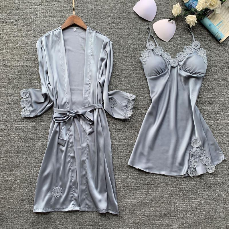 Babyoung Sleepwura Silk Pajamas набор женщин с длинным рукавом халат сексуальные халаты набор Camisole кружевная ночная ночная одежда Hooke Silk платье