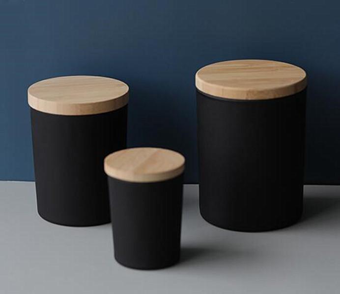 2021 Taza de vidrio vacío Tarro con tapa de bambú para la crema de cera de vela Black Black Black 150g Calcomanía personalizada Etiqueta de etiqueta Vela Titular