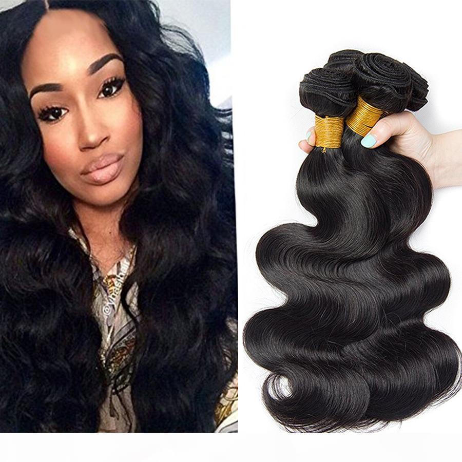 Sıcak Satış 100% İnsan Saç Vücut Dalga 7A Malezya Saç Siyah Kadın Için Saç Örgüleri Christina Saç Ürünleri Çift Atkı 4 adet Demetleri Uzatma