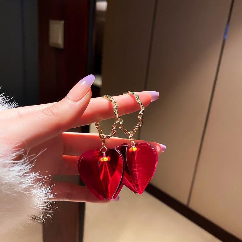Acrílico Mujeres de moda cuelgan pendientes grandes pendientes rojos bohemios Pendientes de moda para mujeres Declaración