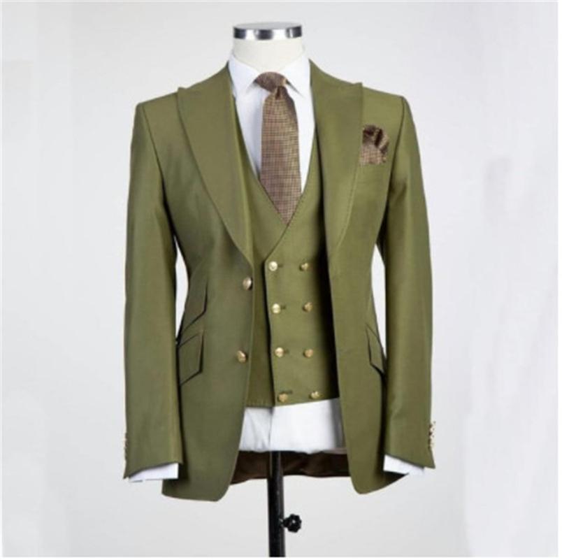 Classic Deux boutons Mariage Tuxedos Peak revéron Slim Fit Costumes pour hommes GroomsMen costume Formel costume Formel (veste + pantalon + gilet + cravate) W604