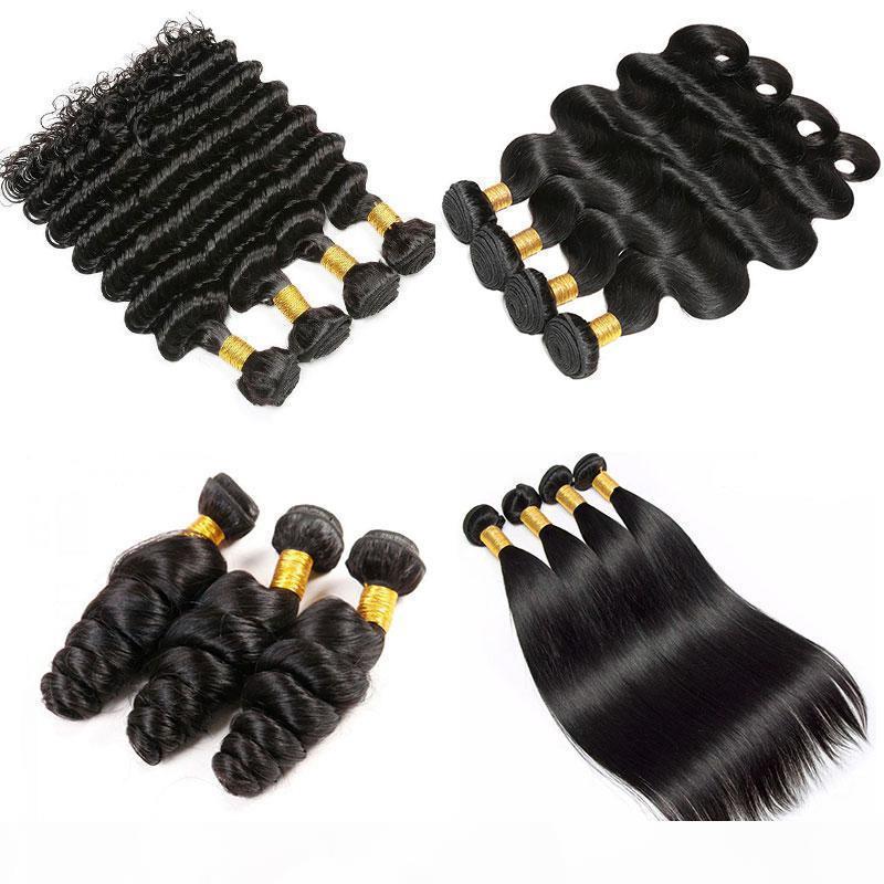 Coiffure Vierge Brésilienne 100% EXTENDUES DE CHEVEUX HUMUME NATURELLE NOI NOIR 1 BORDE D'UELLE DROITE EN LOIGNE DROITE PROFESSIRO VIER Vierge Human Hair Weave