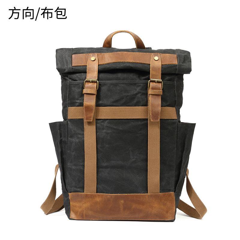 Открытый рюкзак мужской компьютерной нефтяной восковая сумка холст путешествия водонепроницаемый сумасшедший кожаный кожаный мешок