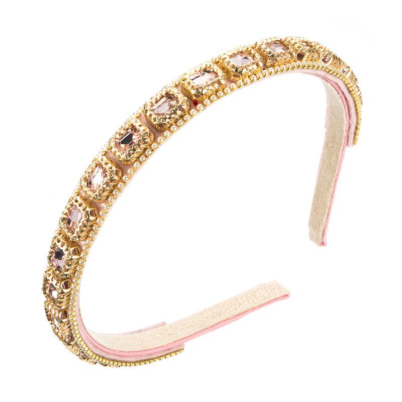 Красочный геометрический кристалл повязка на голову винтаж, смоделированная жемчужная бусина для волос для волос для волос свадьба