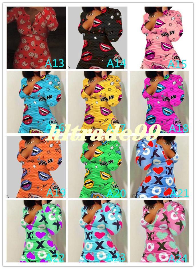 48 color Women Designer Pajama Onesies Nightwear Playsuit Workout Button Skinny Hot Print Jumpsuits V-neck Short Onesies Rompers free DHL